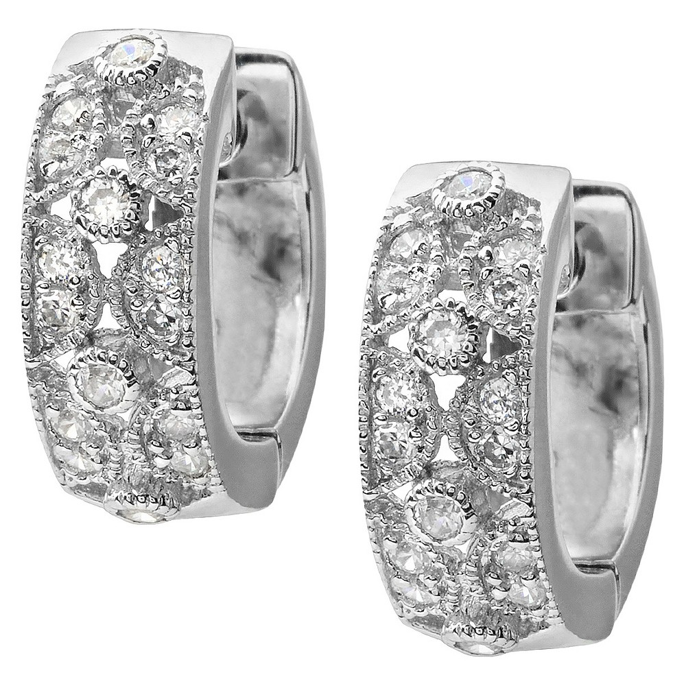 5/8 CT. T.W. Round Cut Cubic Zirconia Pave Set Hoop Earrings - Silver, Womens