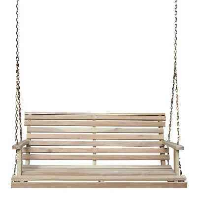Lateral Slat Wood Porch Swing - Driftwood