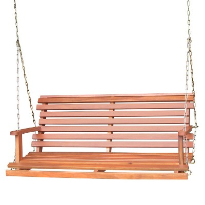 Lateral Slat Wood Porch Swing - Brown