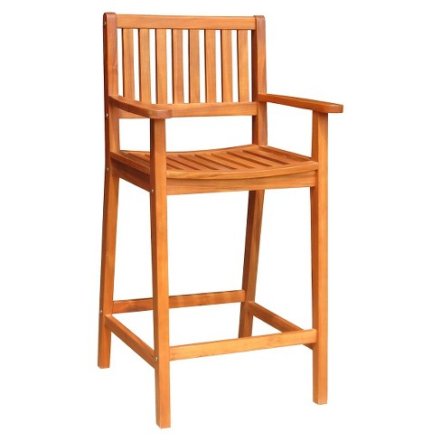 Wood Outdoor Barstool - Brown - image 1 of 1
