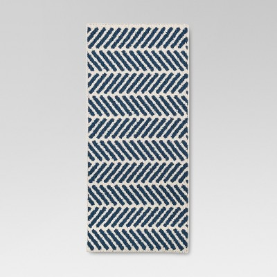 Blue Chevron Accent Kitchen Rug (1'8 X4'2 )- Threshold™