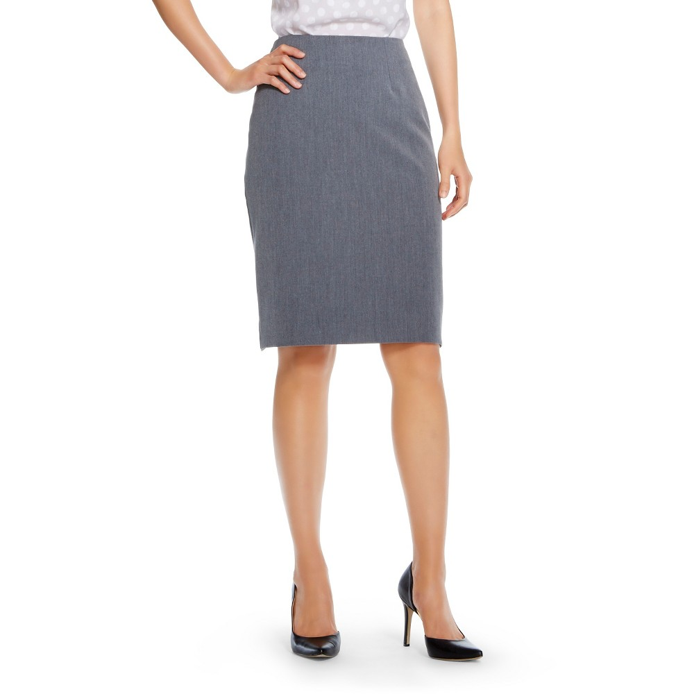 Womens Bi-Stretch Twill Pencil Skirt Heather Gray 14 - Merona