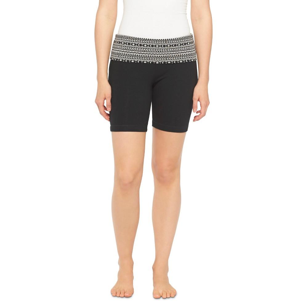Women's Bermuda Yoga Shorts Black & White L - Mossimo Supply Co. (Juniors')