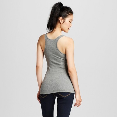 Women's Long & Lean Racer Back Tank Heather Grey S - Mossimo Supply Co. (Juniors')