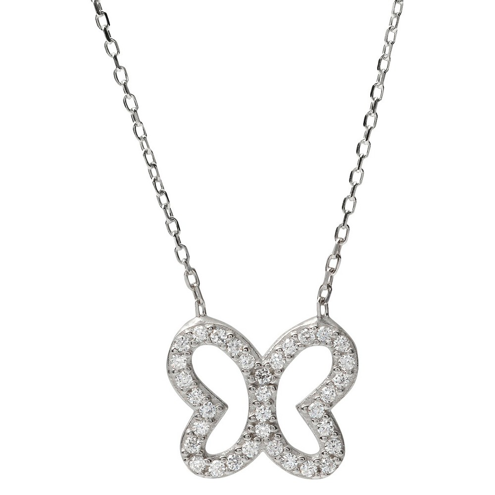3/8 CT. T.W. Tressa Collection Sterling Silver Round Cut CZ Pave Set Pendant Necklace - Silver (18), Womens