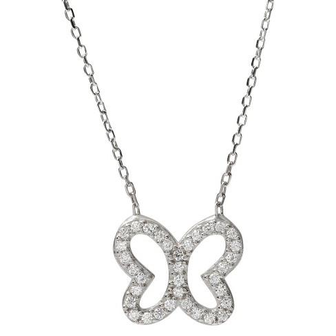 "3/8 CT. T.W. Tressa Collection Sterling Silver Round Cut CZ Pave Set Pendant Necklace - Silver (18"") - image 1 of 3"