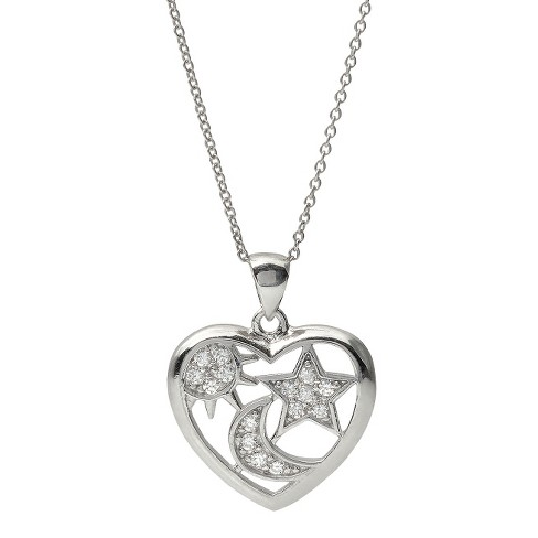"1/6 CT. T.W. Round Cut Cubic Zirconia Sterling Silver Basket Set Pendant Necklace - Silver (18"") - image 1 of 3"