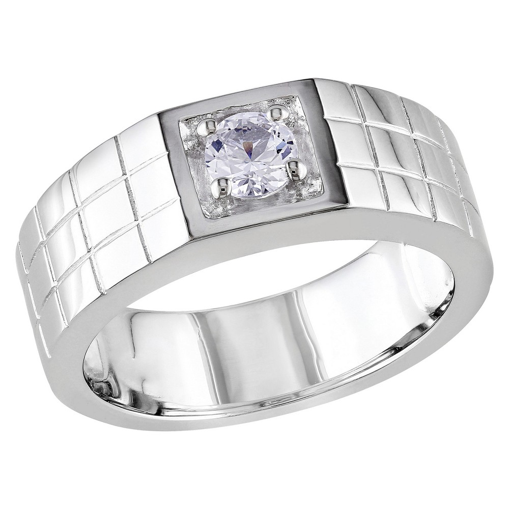 Mens 0.32 CT. T.W. Sapphire 4-Prong Set Ring in Sterling Silver - 9 - White