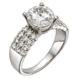 2.92 CT. T.W. Round Forever Brilliant Moissanite Engagement Prong Set Ring in 14K White Gold (8), Women