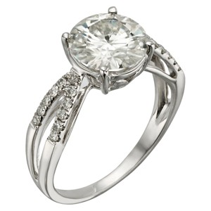 2.92 CT. T.W. Round Forever Brilliant Moissanite Engagement Prong Set Ring in 14K White Gold (7), Women