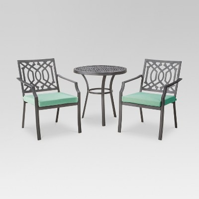 Harper 3 Piece Metal Patio Bistro Set   Seafoam   Threshold™