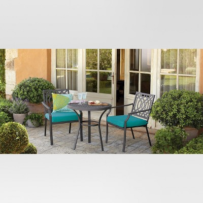 Harper 3 Piece Metal Patio Bistro Set   Turquoise   Threshold™