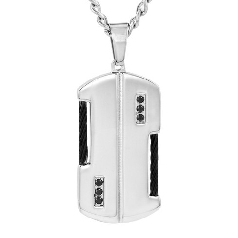Crucible Men's Stainless Steel with Cable and Cubic Zirconia Dog Tag Necklace - Black - image 1 of 3