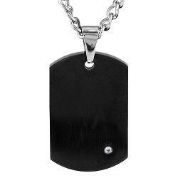 Crucible Men's Stainless Steel Plated Dog Tag with Cubic Zirconia Necklace - Black