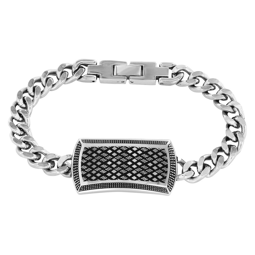 Crucible Mens High Polish Stainless Steel Antique Curb Link ID Bracelet, Silver