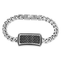 Crucible Men's High Polish Stainless Steel Antique Curb Link ID Bracelet
