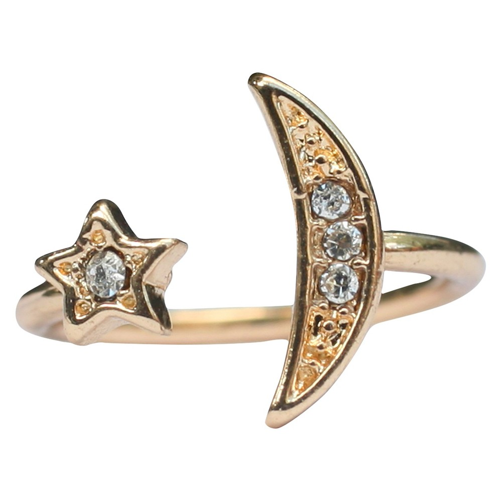 Zirconite Knuckle Moon and Star Ring with Crystal Accents - Gold, Womens