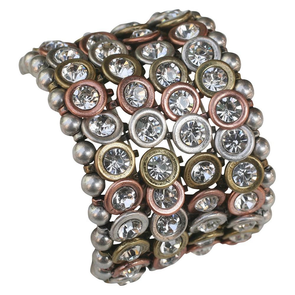 Zirconite Multi-Strand Bracelet with Bezel Crystals - Silver, Womens