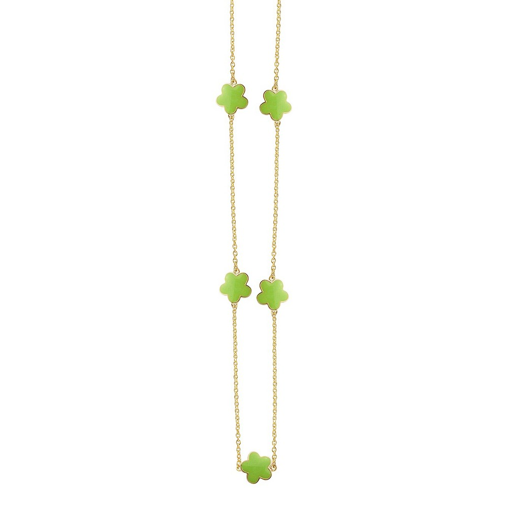 Zirconite Gold Plated Station Necklace with Enameled Daisies Lime Green - 40, Womens