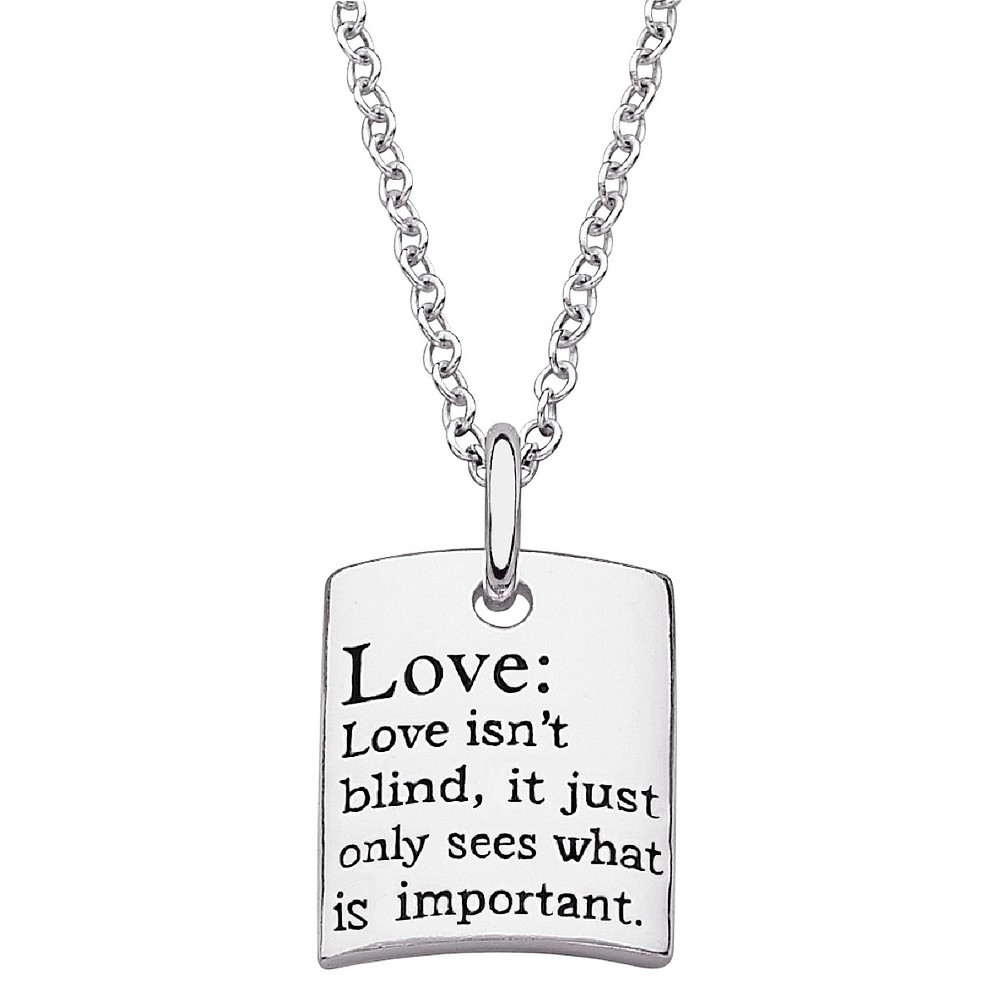 Womens Sterling Silver Love Sentiment Necklace - Silver