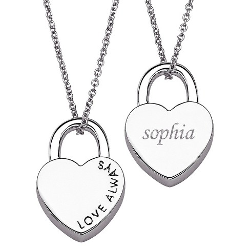 Women's Silvertone Love Always Heart Locket Name Necklace - Silver - image 1 of 1
