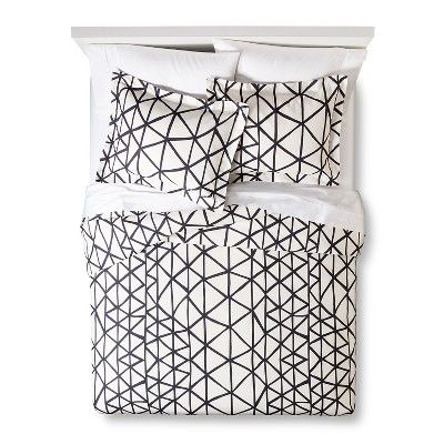 Handrawn Geo Duvet Cover Set White/Navy (King)- Nate Berkus™