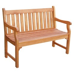 Vifah Outdoor 2-Seater Wood Henley Bench - Brown