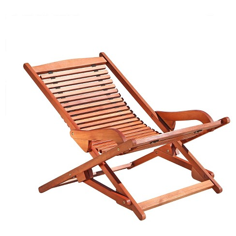 Vifah Outdoor Wood Reclining Folding Lounge - Brown - image 1 of 1