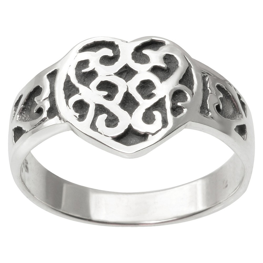 Womens Tressa Collection Heart Ring in Sterling Silver - Silver (9)