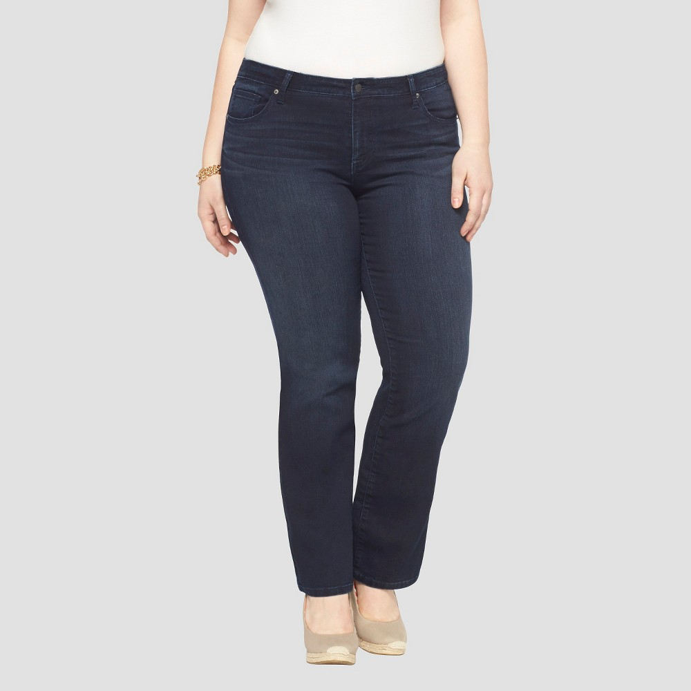 Womens Plus Size Bootcut Denim Jeans - Ava & Viv - Dark Blue 16W