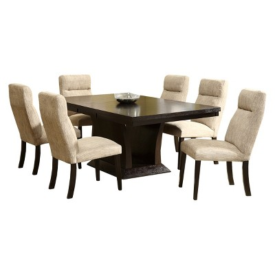 7 Piece Navin Extendable Dining Set Deep Espresso Homelegance