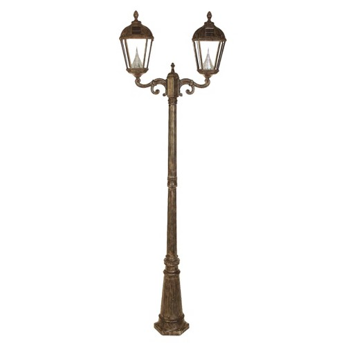Gama Sonic Royal Solar Lamp Post and Double Lanterns, Dark Taupe