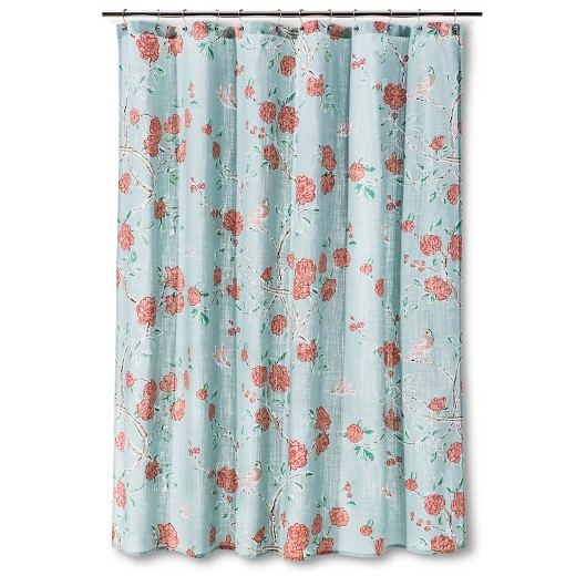 shower curtain floral birds blue - threshold™ : target