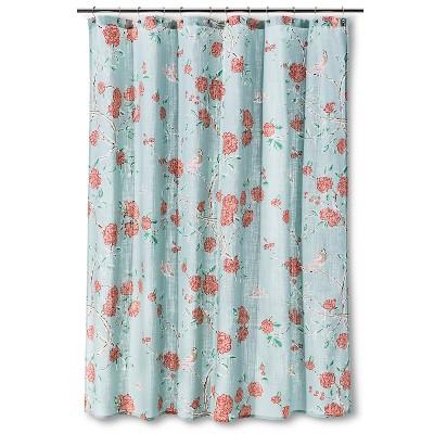 Marvelous Shower Curtain Floral Birds Blue Threshold Target