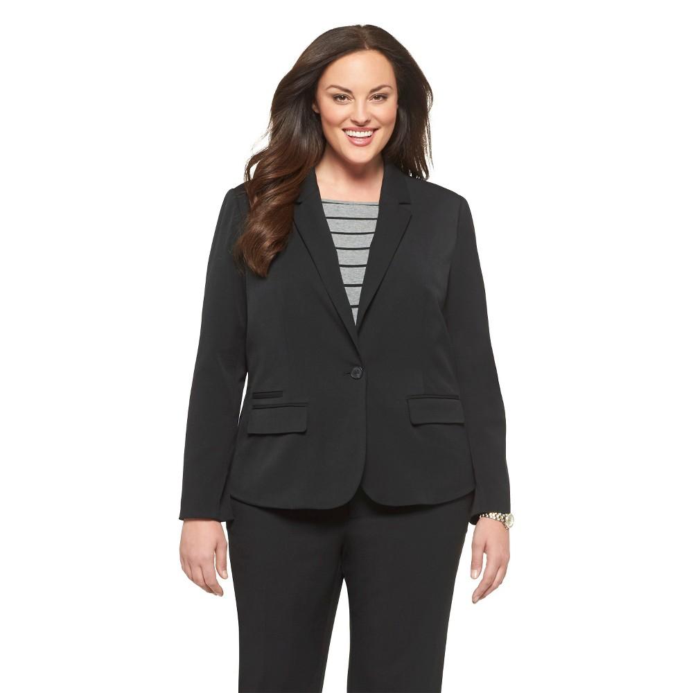 Women's Plus Size Twill Blazer - Black - 18W - Merona plus size,  plus size fashion plus size appare