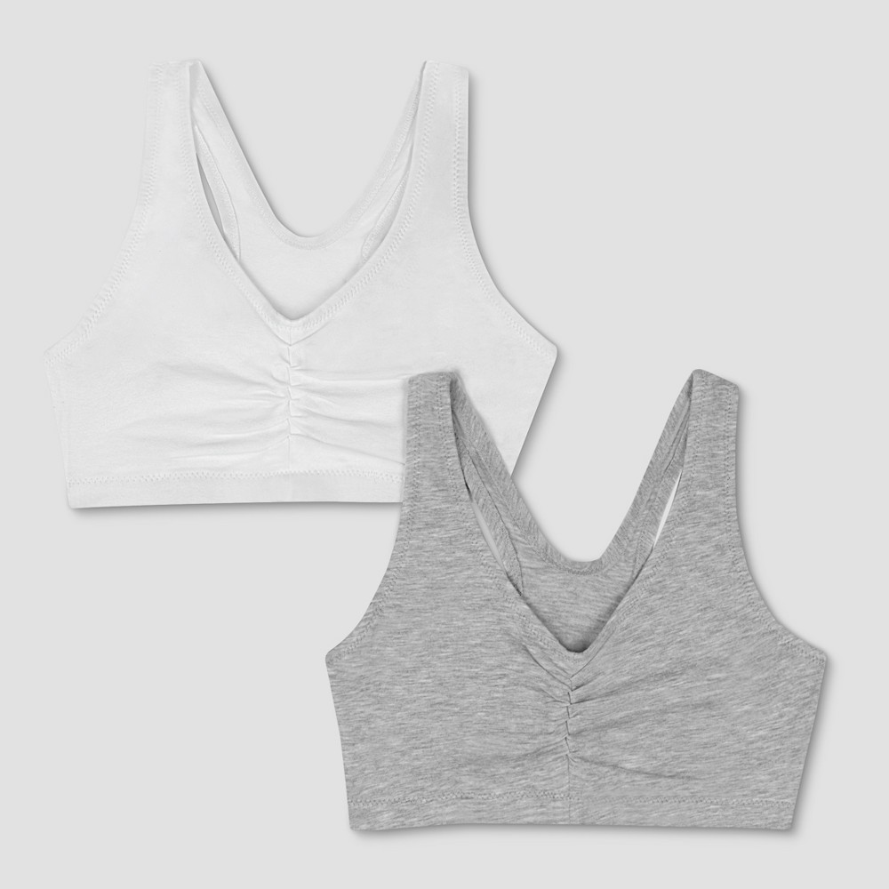 Hanes Womens ComfortFlex Fit Stretch Cotton Sport Bra H570 2-Pack - Heather Gray/White L