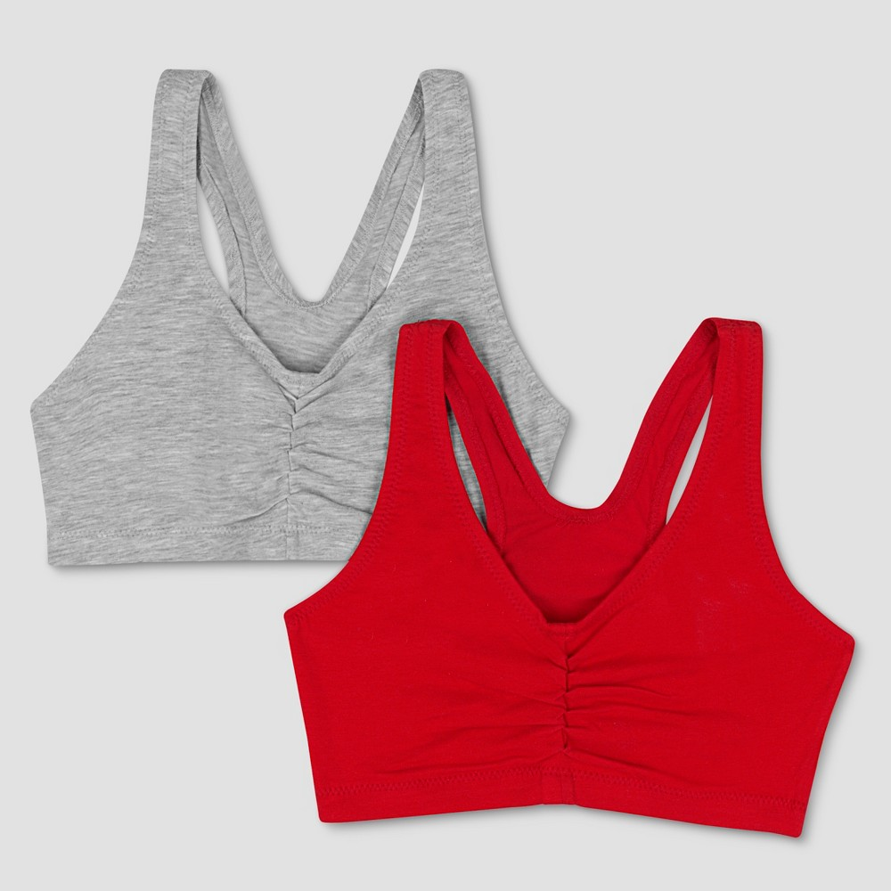 Hanes Womens ComfortFlex Fit Stretch Cotton Sport Bra H570 2-Pack - Heather Gray/Red S, Heather Gray/Formula 1 Red
