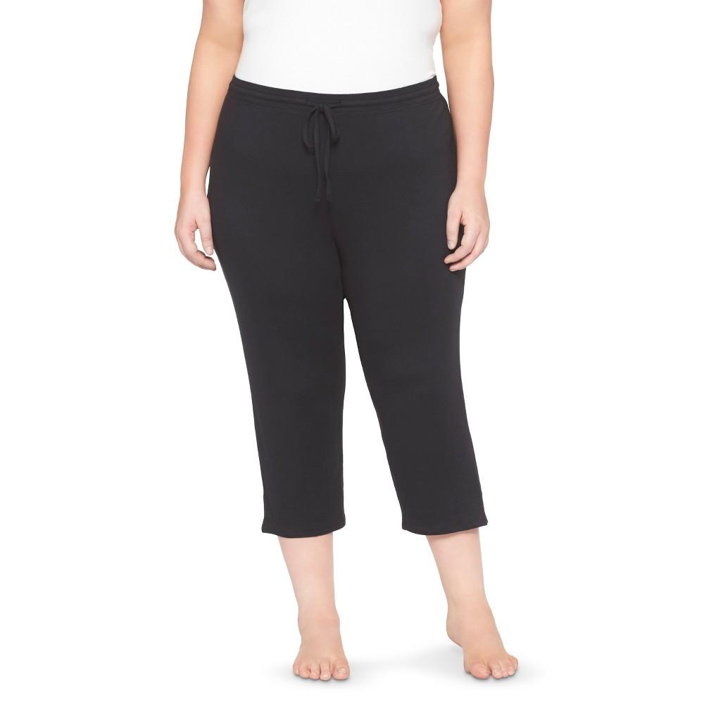 Plus Size Plus Pajama Knit Crop Total Comfort - Black 1X, Womens