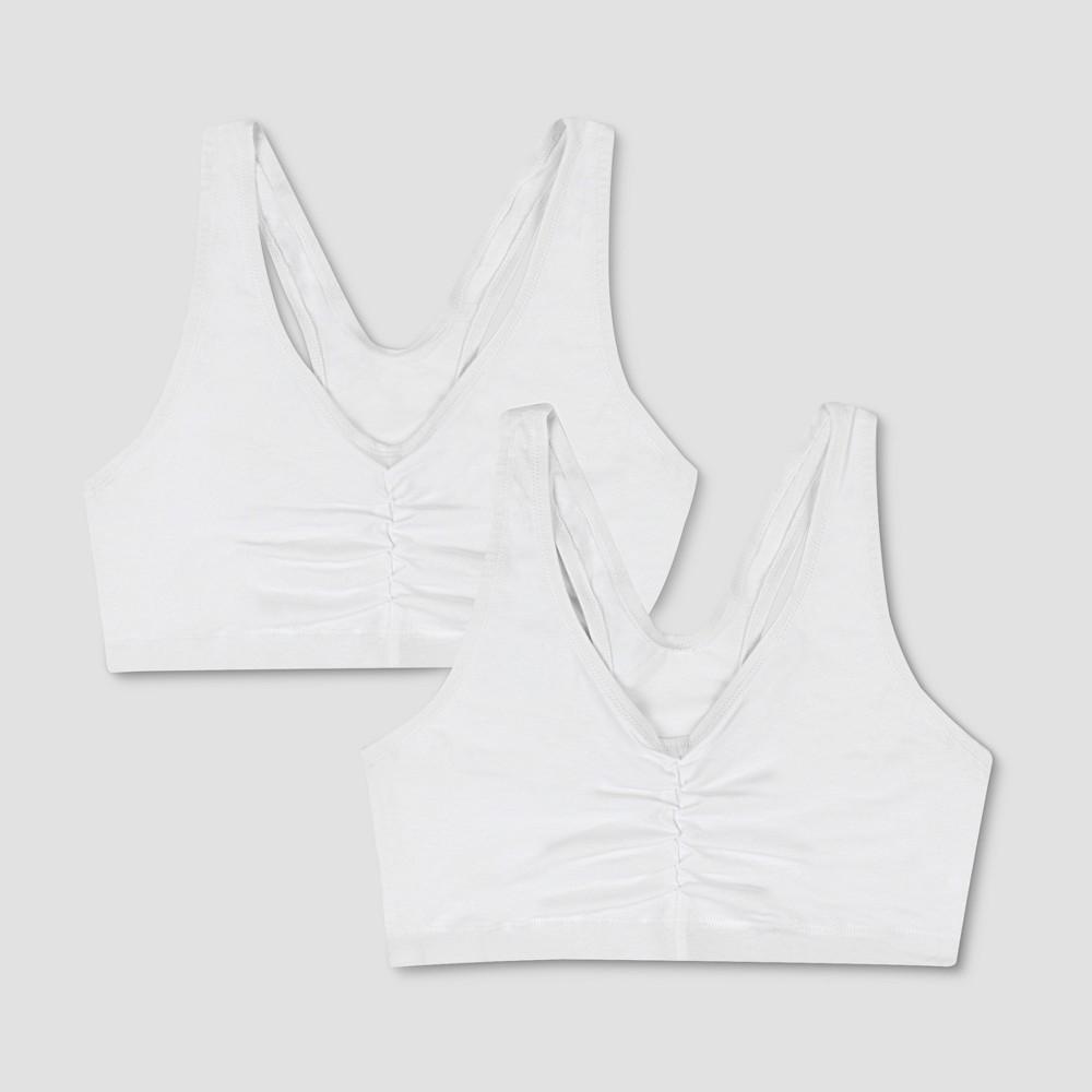 Hanes Womens ComfortFlex Fit Stretch Cotton Sport Bra H570 2-Pack - White S