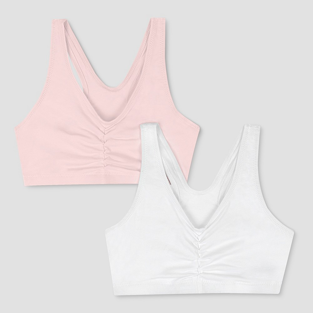 Hanes Womens ComfortFlex Fit Stretch Cotton Sport Bra H570 2-Pack - Pink Lilac/White L