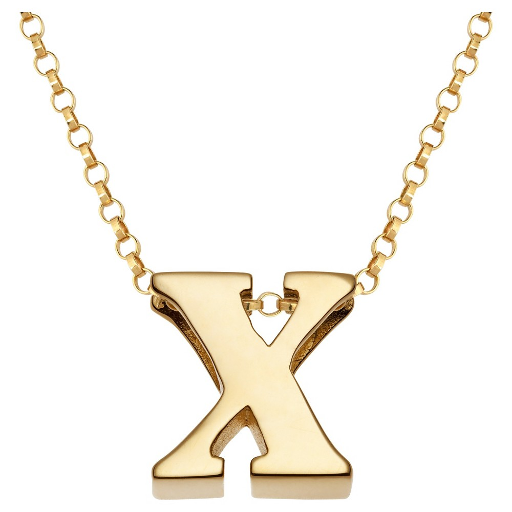 Womens Sterling Silver x Initial Charm Pendant - Gold, X