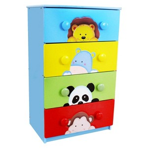 Fantasy Fields Sunny Safari 4 Drawer Cabinet with Handles Wood - Teamson