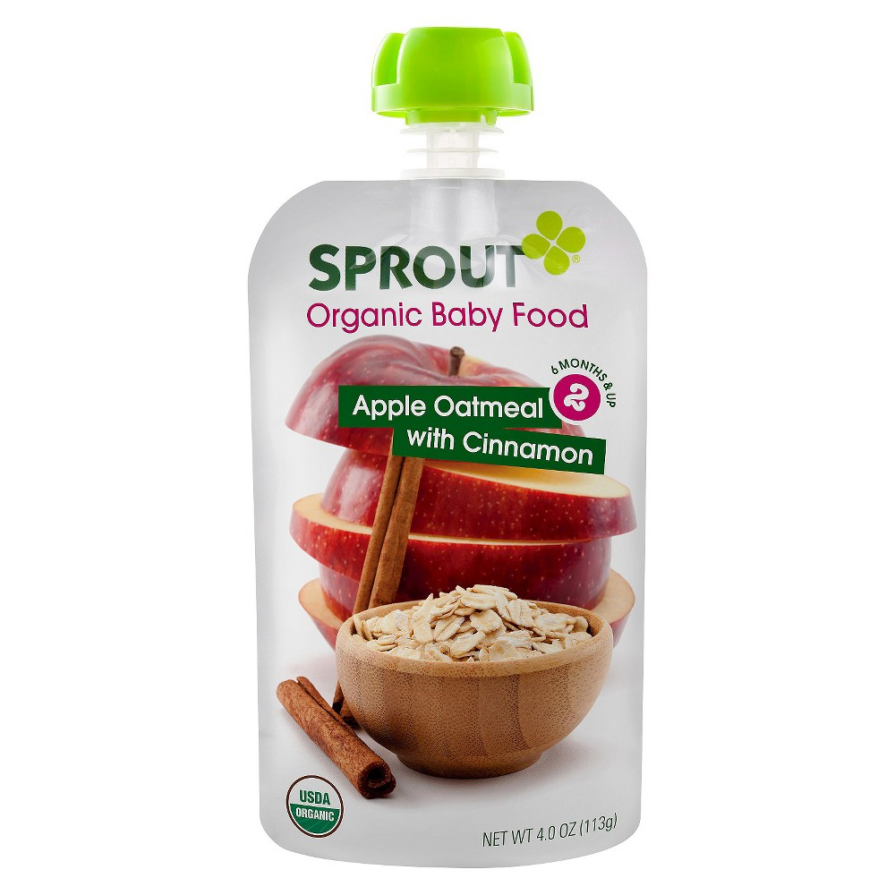 Sprout Organic Baby Food Stage 2 Apple Oatmeal with Cinnamon 4oz (5 pk)