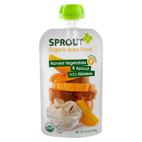 Sprout Organic Baby Food Stage 3 Harvest Vegetables & Apricot with Chicken 4.5oz (5 pk) - image 1 of 1