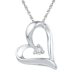 """1/20 CT. T.W. Round Diamond with Miracle Set Heart Pendant in Sterling Silver (IJ-I2-I3) (18"""")"""