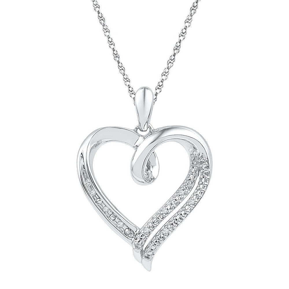 1/20 CT. T.W. Round Diamond Prong and Nick Set Heart Pendant in Sterling Silver (IJ-I2-I3) (18), Womens, White