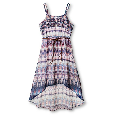 Girls' Printed High-Low Maxi Dress - Xhilaration™ Blue XS - image 1 of 2