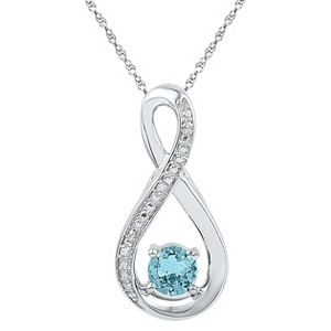 1/20 CT. T.W. Round Diamond with Prong Set Fashion Pendant in Sterling Silver - Aquamarine, Women