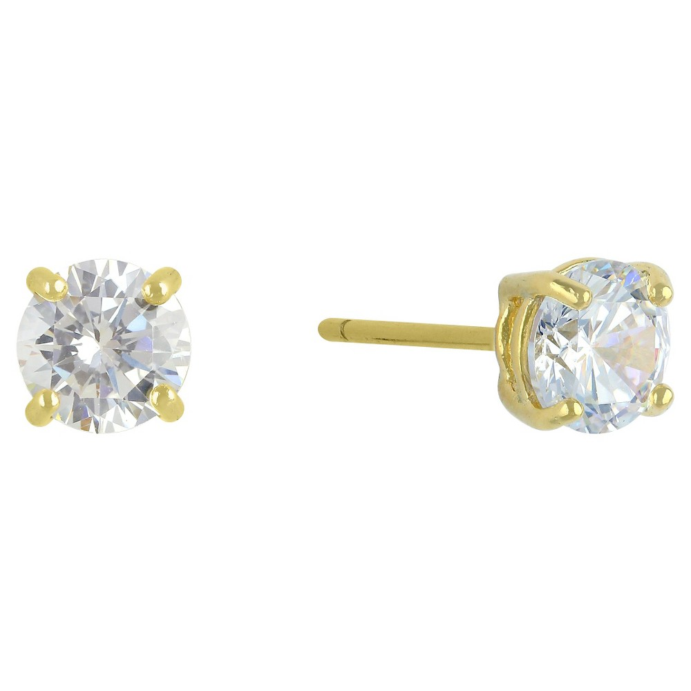 Cubic Zirconia Round Stud Earrings with 14k Gold Plating in Sterling Silver - Gold, Womens