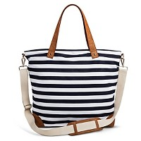 Merona Womens Striped Canvas Tote Handbag